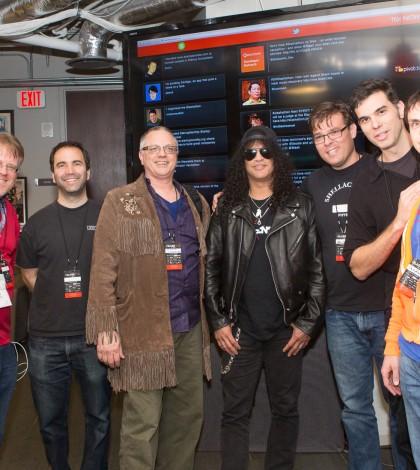 SLASH poses with the creators of SLASH TV, winners of the SLASHATHON at SXSW 2014. (Photo Credit: Mario Villeda)