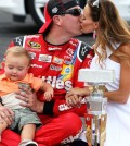 July 24, 2016 | Speedway, IN: Kyle Busch and wife Samantha celebrate a Brickyard 400 victory.